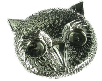 6 Antique Silver Brass owl Metal Stamping Finding 816