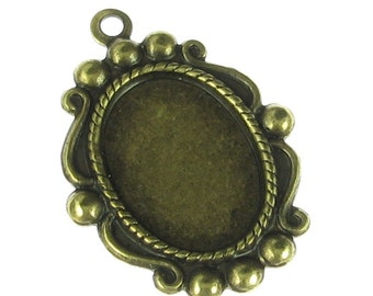 6 Brass Ox Cameo Setting 14x10 Jewelry Findings 810