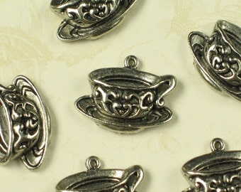 6 Antique Silver Tea Cup Charm Jewelry Finding 716