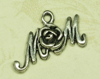 6 Antique Silver Mom Rose Charm Jewelry Finding 605