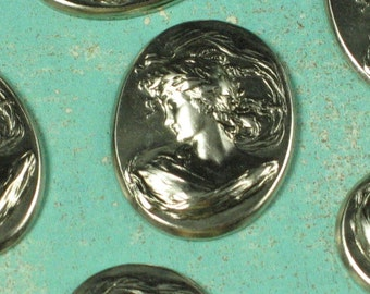 6 Antiqued Silver Brass Cameo 23x18 Jewelry Finding 432