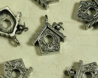 6  Silver Plated Pewter Bird and House Charm Lead Free 800