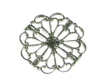 6 Antique Silver Brass Filigree Jewelry Findings 218