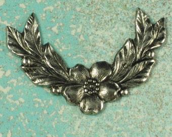 6 Antique Silver Flower and Leaf Corner Metal Stamping 502