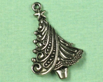 6 Antique Silver Christmas Tree Charm Jewelry Finding 349