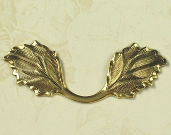 3 Antique Gold Large Leaf Leaves Embellishment Altered Art 775