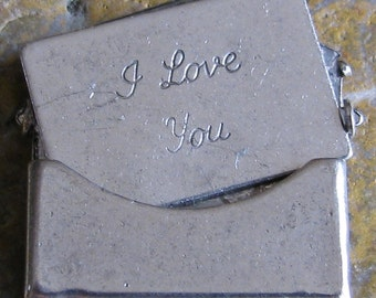 2 Small Antique Silver Brass Love Letter Smooth  Envelope Finding 746