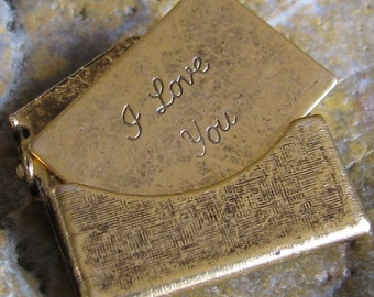 2 Small Antique Gold Brass Love Letter Textured  Envelope Finding 746T