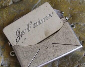 1 Large Antique Silver Brass Je t'aime Love Letter Textured  Envelope Finding 745TJ