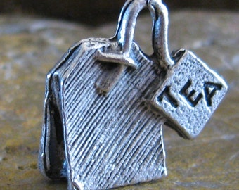 Tea Bag Party Charms in Antique Silver Tea Time Sign 1037 - 6 Pcs