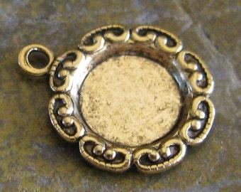 12 Antique Gold Round 7mm Filigree Rhinestone Setting  1 Ring Findings 442