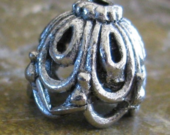 6 Antique Silver Bead Caps Jewelry Findings 452