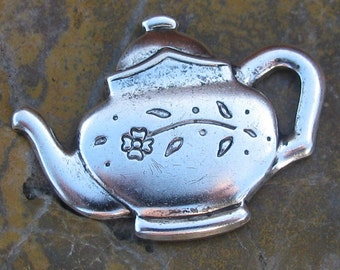 6 Antique Silver Brass Tea Pot Metal Stampings Jewelry Findings 1217