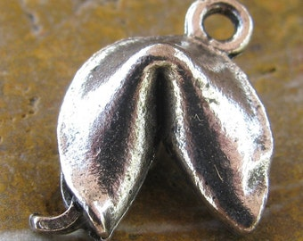 6 Antique Silver fortune Cookie Charms Jewelry Findings 1060
