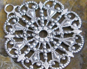 Round Antiqued Silver Filigree 1 Rings Jewelry Findings 1022 - 6 pcs