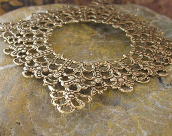 3 Antique Gold (Brass) Filigree Jewelry Findings 303