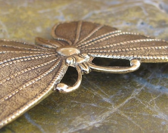 Sale - 1 Antiqued Gold Brass Butterfly Metal Stampings Jewelry Finding Embellishment CO038