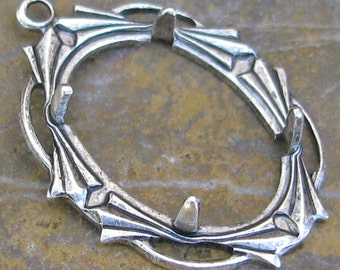 3 Antique Silver 18x13 Prong Setting Pendant finding 1303