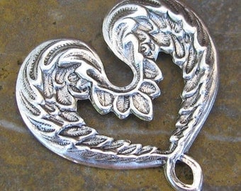 6 Antique Silver Heart Brass Filigree Jewelry Finding 426