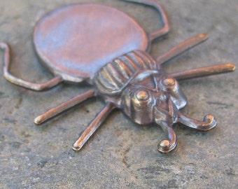 6 Antiqued Brass Beetle with Gluing Pad for Stone Findings 814