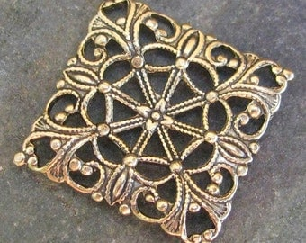 6 Pc Antique Gold Square Brass Filigree Finding 448