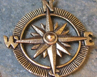 Compass Charms Wind Star Weather Vein Antique Gold 1341 - 3 Pieces