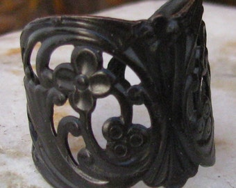 Filigree Finger Ring Blank with Glue Pad Adjustable Bronze 990 - 3 pieces