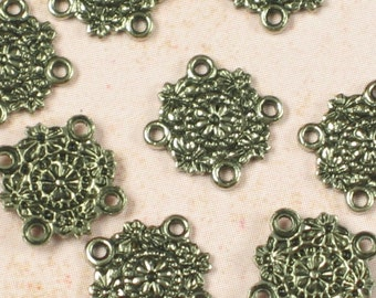 12 Antique Silver 4 Hole Connector Jewelry Findings 462