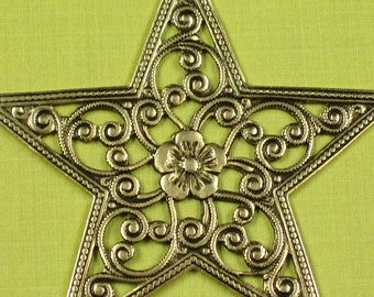 3 Antiqued Gold Western Star Embellishment Metal Stamping Jewelry Finding 243