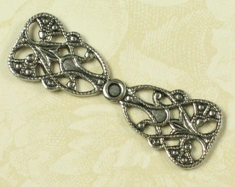 6 Antique Silver Brass Filigree Bow Jewelry Finding 728