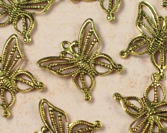 Antique Gold Filigree Butterfly Charm Jewelry Finding 690 - 6 pieces