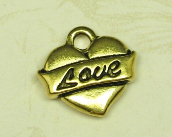 6 Pcs 22k Gold Plated Pewter Heart with Love Charm Finding 833