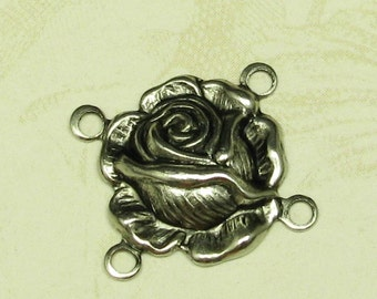 12 Antique Silver Rose 4 Hole Connector Jewelry Findings 428