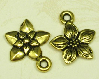 6 Antiqued 22k Gold Plated Pewter Flower Charms Jewelry Findings 422