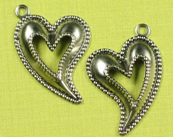 12 Antique Silver Heart Brass Charm Jewelry Finding 590