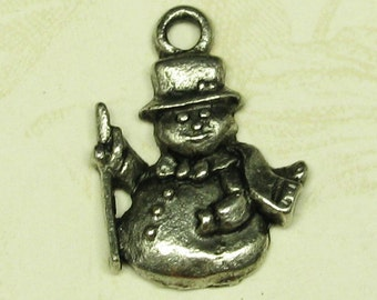 6 Antique Silver Snowmen Christmas Charms Jewelry Findings 359