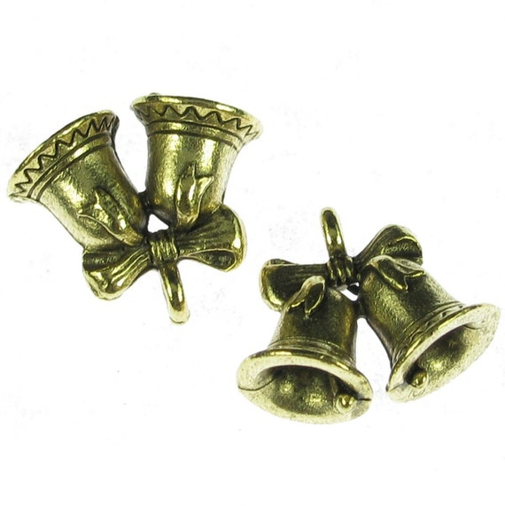 Gold Wedding Bells: Wedding Bell Charms In Gold Jewelry Findings By