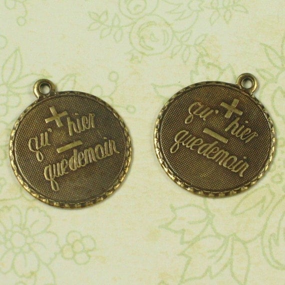 6 Brass Ox French Charms Je T Aime Plus Qu Hier Moins Que Demain Jewelry Finding 656