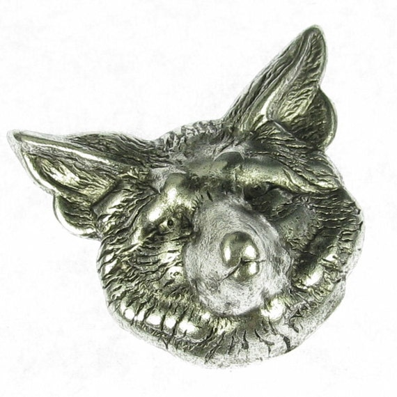 6 Antique silver Brass Fox head Stamping Altered Art 824