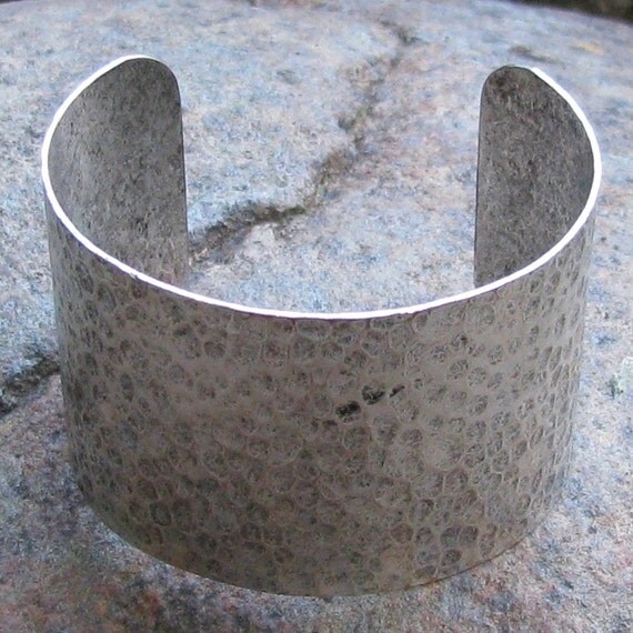 1 Antique Silver Textured Cuff Bracelet Blank Jewelry Supplies 2 inches wide 1127