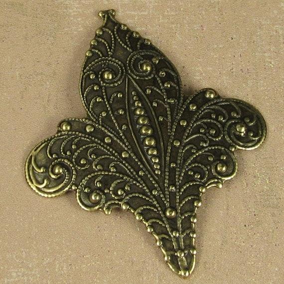 6 Brass ox Fluer De List Metal Stamping Jewelry Finding 332