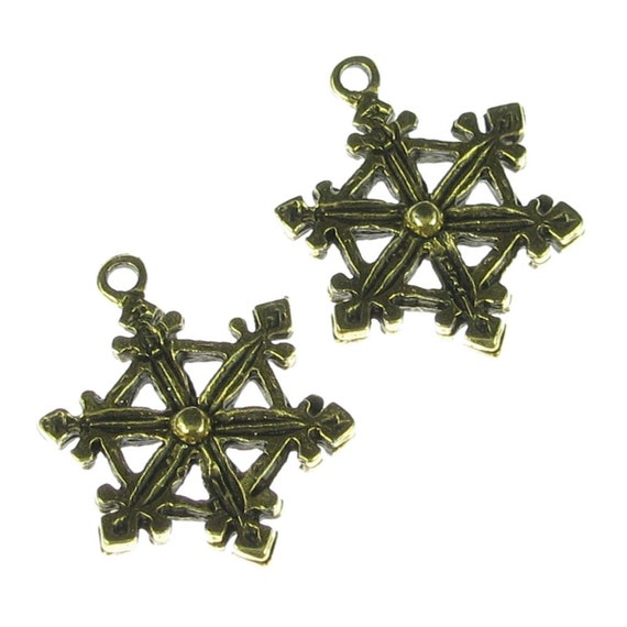 6 Antiqued Gold Snowflake Charms Jewelry Findings 248