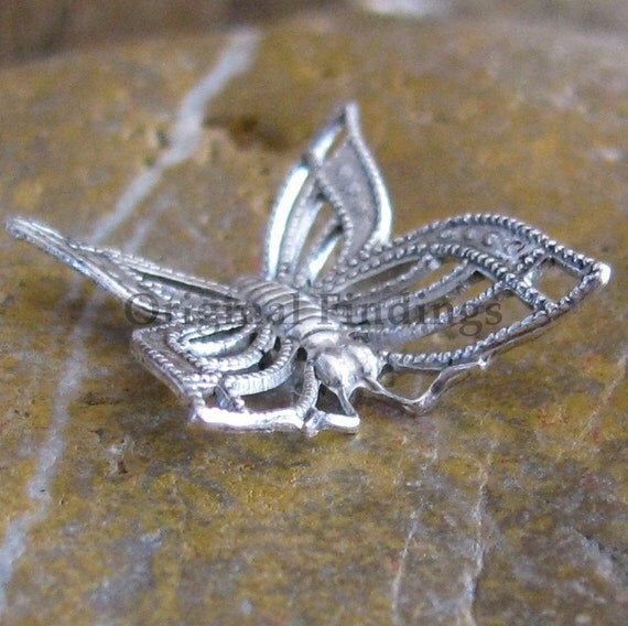 12 Antique Silver Filigree Butterfly Connector Jewelry Finding 620