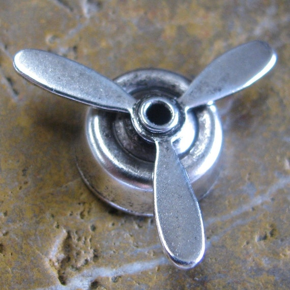 Airplane Propeller Steampunk Jewelry Findings Antique Silver 1235 - 6 Pieces