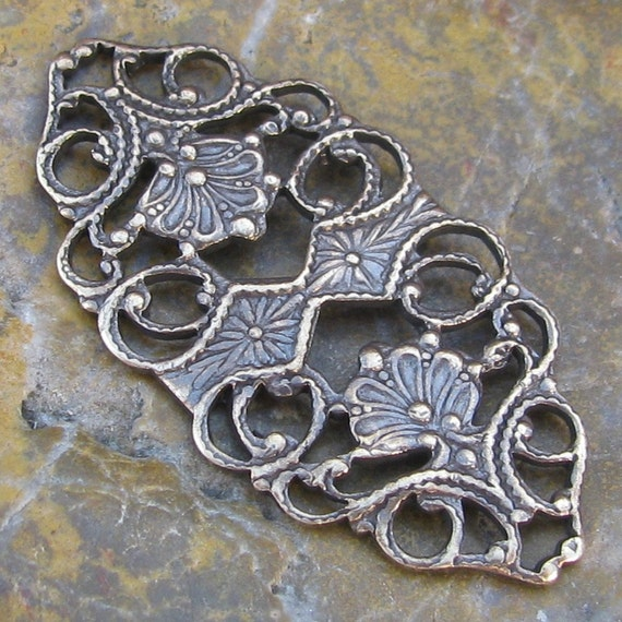 6 Antiqued Brass Flat Filigree Connector Jewelry Findings 1262