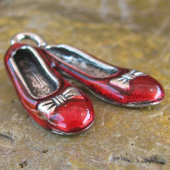Dorthy Wizard of oz Slippers Shoes Ballerina Slipper Charms Finding Antique Silver and Red 995 - 6 Pieces