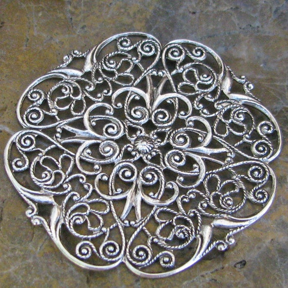 Filigree Antiqued Silver Plated Brass Jewelry Finding Round 1296 - 3 Pieces