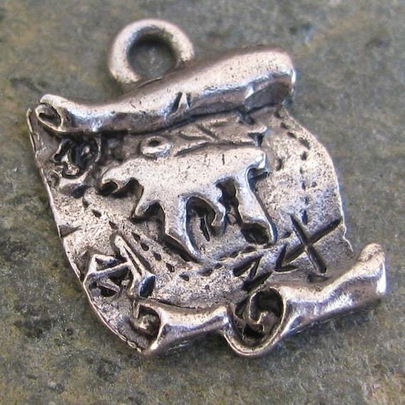 Treasure Map Nautical Charms in Antique Silver Jewelry Findings - 6 pcs - 1029