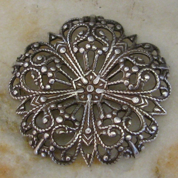 New Color - Flower Round Filigree Stamping Embellishment Old world Silver 851 - 3 Pieces