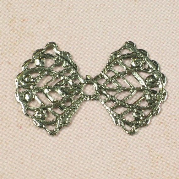 6 Antq Silver Bow Shape Filigree Jewelry Finding 323